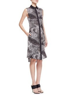 Jason Wu Sleeveless Printed Silk Shirtdress, Black