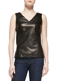Jason Wu Sleeveless V-Neck Lambskin Leather Shell