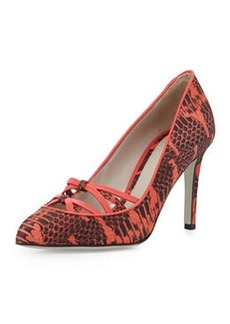 Jason Wu Snake-Print Leather Crisscross Pump, Red