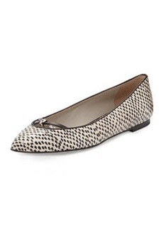 Jason Wu Snakeskin Point-Toe Ballerina Flat, Nude/Black