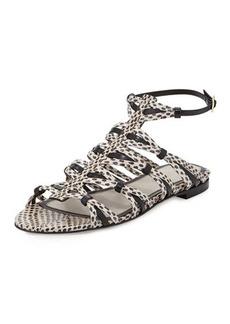 Jason Wu Snakeskin Strappy Flat Sandal