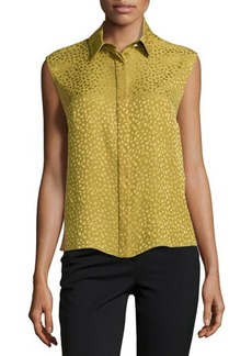 Jason Wu Spotted Silk Flyaway-Back Top, Palm