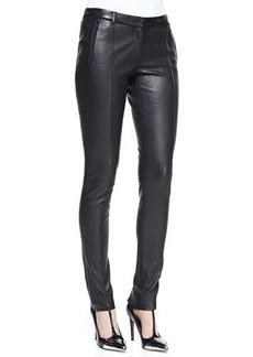 Jason Wu Stovepipe Leather Pants, Black