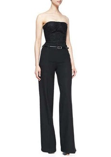 Jason Wu Strapless Jumpsuit with Belt, Black