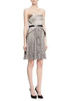 Jason Wu Strapless Snake-Print Belted Dress
