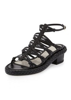 Jason Wu Strappy Embossed Leather Mid-Heel Sandal, Black