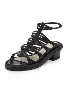 Jason Wu Strappy Embossed Leather Mid-Heel Sandal, Black