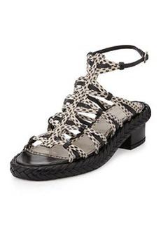 Jason Wu Strappy Snakeskin Mid-Heel Sandal, Nude/Black
