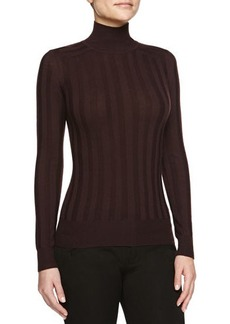 Jason Wu Striped Knit Mock-Neck Pullover, Eggplant