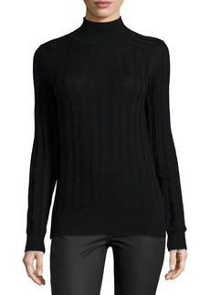 Jason Wu Striped Knit Mock Turtleneck Pullover, Black