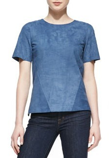 Jason Wu Suede Short-Sleeve Shell, Blue
