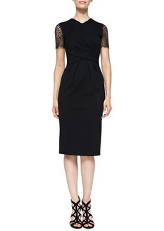 Jason Wu Surplice-Neck Sheath Dress with Eyelet Sleeves