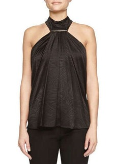 Jason Wu Swivel Jacquard Tie-Bar Halter Top