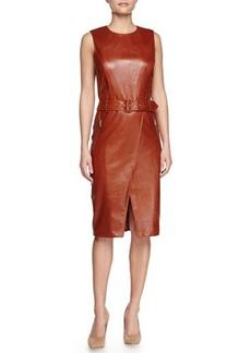Jason Wu Textured Leather Sheath Dress