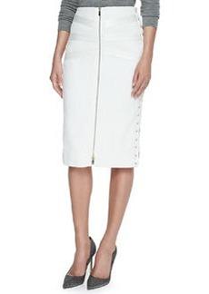 Jason Wu Tweed & Satin Lace-Up Skirt, Ivory