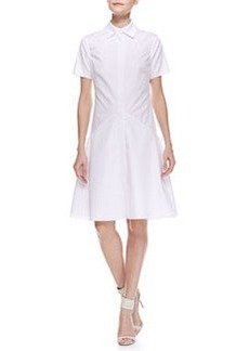 Jason Wu Two-Collar Cotton Poplin Flounce Shirtdress, Ivory