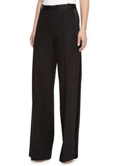 Jason Wu Wide-Leg Satin-Waist Trousers, Black