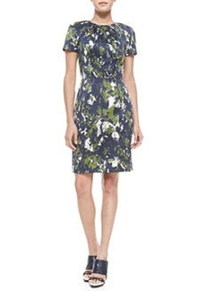 Short-Sleeve Abstract-Print Sheath Dress   Short-Sleeve Abstract-Print Sheath Dress