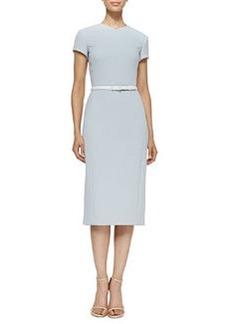 Short-Sleeve Belted Crepe Dress   Short-Sleeve Belted Crepe Dress