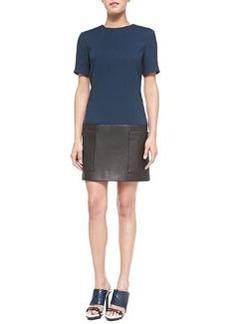 Short-Sleeve Crepe/Leather Tunic Dress   Short-Sleeve Crepe/Leather Tunic Dress