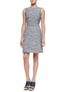Sleeveless Denim Tweed Sheath Dress   Sleeveless Denim Tweed Sheath Dress
