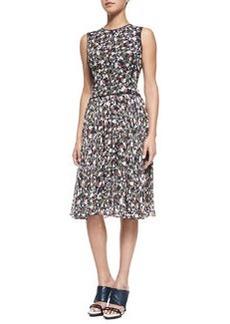 Sleeveless Printed Fit & Flare Dress   Sleeveless Printed Fit & Flare Dress