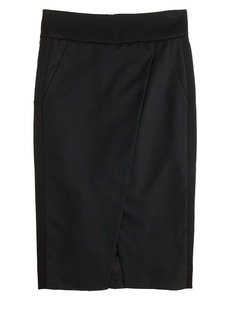 Asymmetrical crossover pencil skirt
