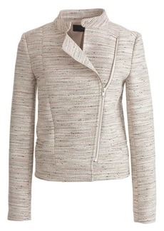 Asymmetrical zip jacket in pink pepper tweed