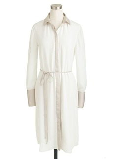 Belted shirtdress in colorblock