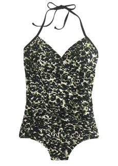 Black forest camo halter wrap one-piece swimsuit
