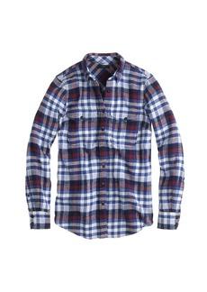 Boyfriend flannel shirt in deep sea plaid