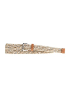 Braided woven metallic jute skinny belt