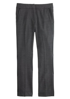 Campbell capri pant in bi-stretch wool with leather tuxedo stripe