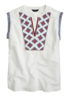 Cap-sleeve top in embroidered sunburst