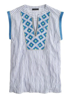 Cap-sleeve top in embroidered sunburst stripe