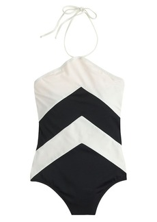 Chevron halter one-piece swimsuit