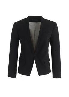 Collarless cropped tuxedo blazer