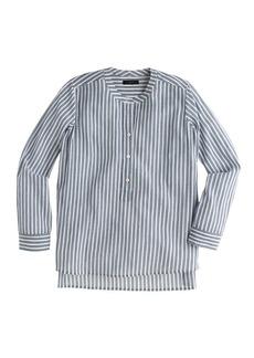 Collarless popover shirt in bengal stripe