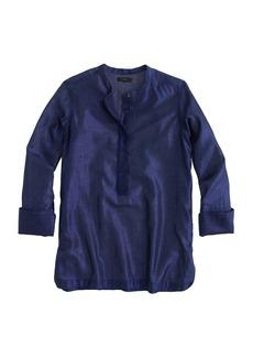 Collarless popover shirt in metallic voile