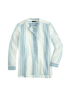 Collarless popover shirt in seashore stripe