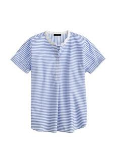 Collarless short-sleeve popover shirt in stripe