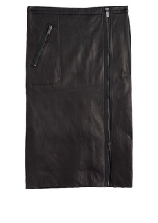 Collection asymmetrical leather zip pencil skirt