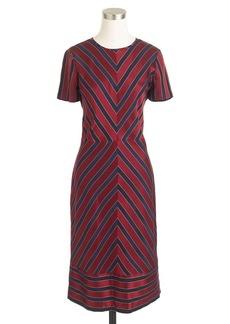 Collection chevron-stripe silk pleated dress