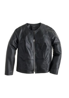 Collection collarless leather jacket