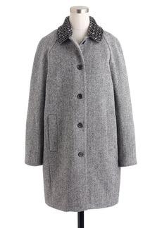 Collection herringbone coat with beaded collar