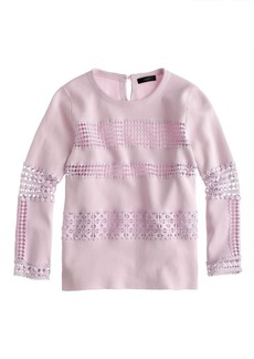 Collection lace-stripe sweater