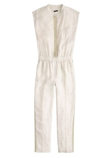 Collection linen jumpsuit with chain-mail placket