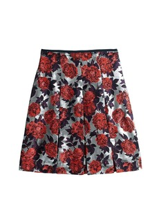 Collection metallic floral jacquard skirt