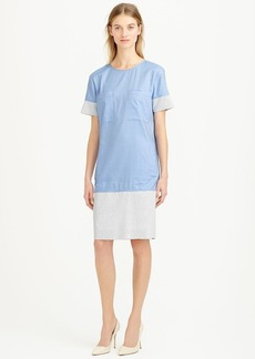 Collection poplin shift dress with perforated faux leather