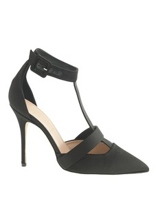 Collection satin T-strap pumps